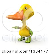 Clipart Of A 3d Yellow Gardener Duck Pointing To The Left Royalty Free Illustration by Julos