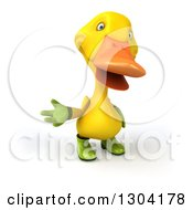 Clipart Of A 3d Yellow Gardener Duck Presenting Royalty Free Illustration by Julos