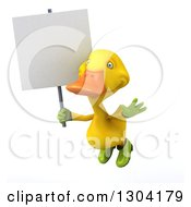 Clipart Of A 3d Yellow Gardener Duck Flying With A Blank Sign Royalty Free Illustration by Julos