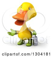 Clipart Of A 3d Yellow Gardener Duck Holding A Watering Can And Presenting Royalty Free Illustration by Julos