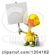 Clipart Of A 3d Yellow Gardener Duck Holding A Watering Can And A Blank Sign Royalty Free Illustration