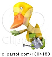 Clipart Of A 3d Yellow Gardener Duck Flying With A Watering Can Royalty Free Illustration by Julos