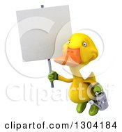 Clipart Of A 3d Yellow Gardener Duck Flying With A Watering Can And A Blank Sign Royalty Free Illustration by Julos