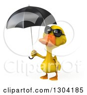 Clipart Of A 3d Yellow Duck Wearing Sunglasses And Holding An Umbrella Royalty Free Illustration by Julos