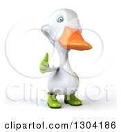 Clipart Of A 3d White Gardener Duck Giving A Thumb Up Royalty Free Illustration