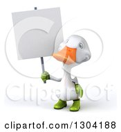 Clipart Of A 3d White Gardener Duck Holding Up A Blank Sign Royalty Free Illustration