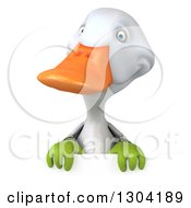 Clipart Of A 3d White Gardener Duck Over A Sign Royalty Free Illustration