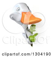 Clipart Of A 3d White Gardener Duck Pointing Around A Sign Royalty Free Illustration