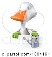 Clipart Of A 3d White Gardener Duck Holding A Watering Can Over A Sign Royalty Free Illustration