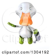 Clipart Of A 3d White Gardener Duck Flying With A Watering Can Royalty Free Illustration