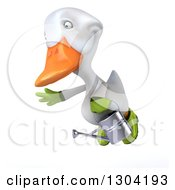 Clipart Of A 3d White Gardener Duck Flying To The Left With A Watering Can Royalty Free Illustration