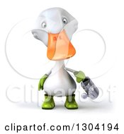 3d White Gardener Duck Using A Watering Can
