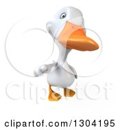 Clipart Of A 3d White Duck Pointing Outwards Royalty Free Illustration