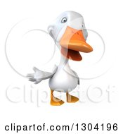 Clipart Of A 3d White Duck Presenting 2 Royalty Free Illustration