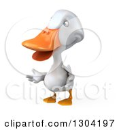 Clipart Of A 3d White Duck Presenting 3 Royalty Free Illustration