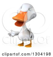 Clipart Of A 3d White Duck Presenting Royalty Free Illustration