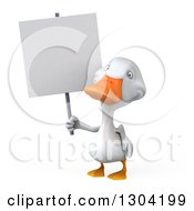Clipart Of A 3d White Duck Holding Up A Blank Sign Royalty Free Illustration