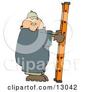 Caucasian Worker Man On A Ladder