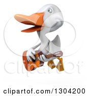 Clipart Of A 3d White Duck Flying And Playing A Guitar Royalty Free Illustration