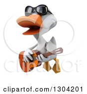 Clipart Of A 3d White Duck Wearing Sunglasses Flying And Playing A Guitar Royalty Free Illustration