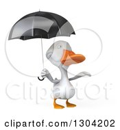 Clipart Of A 3d White Duck Reaching Out From Under An Umbrella Royalty Free Illustration by Julos