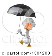 Clipart Of A 3d White Duck Walking And Pointing Up At An Umbrella Royalty Free Illustration