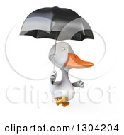 Clipart Of A 3d White Duck Running With An Umbrella Royalty Free Illustration