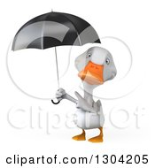 Clipart Of A 3d White Duck Pointing Up At An Umbrella Royalty Free Illustration