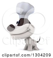 3d Jack Russell Terrier Dog Chef Smiling And Facing Left