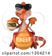 Clipart Of A 3d Red Dragon Wearing Sunglasses And Flying With A Double Cheeseburger Royalty Free Illustration