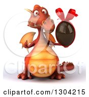 Clipart Of A 3d Red Dragon Giving A Thumb Up And Holding A Chocolate Easter Egg Royalty Free Illustration