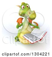 Clipart Of A 3d Green Dragon Holding Up A Thumb And A Book Royalty Free Illustration