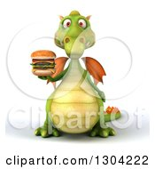 Clipart Of A 3d Green Dragon Holding Up A Double Cheeseburger Royalty Free Illustration