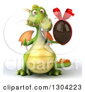 Clipart Of A 3d Green Dragon Giving A Thumb Up And Holding A Chocolate Easter Egg Royalty Free Illustration