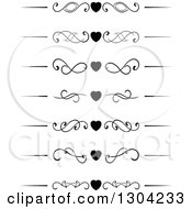 Clipart Of Black And White Heart And Swirl Border Rule Design Elements Royalty Free Vector Illustration