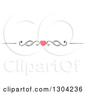 Clipart Of A Red Heart And Black Swirl Border Rule Design Element Royalty Free Vector Illustration by Vector Tradition SM