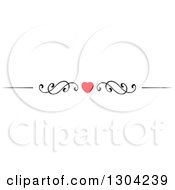 Clipart Of A Red Heart And Black Swirl Border Rule Design Element 5 Royalty Free Vector Illustration