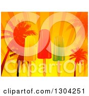 Clipart Of A Popsicle Palm Tree Sunset Rays And Halftone Tropical Background Royalty Free Vector Illustration