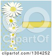 Blank Banner Polka Dot And Daisy Or Chamomile Flowers On Blue Invitation Background