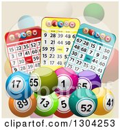 Clipart Of 3d Colorful Bingo Balls With Cards On Tan Royalty Free Vector Illustration
