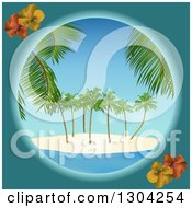 Clipart Of A Teal And Hibiscus Round Frame With A Tropical Island Royalty Free Vector Illustration