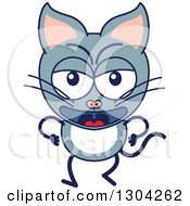 Clipart Of A Cartoon Angry Gray Cat Character Royalty Free Vector Illustration by Zooco