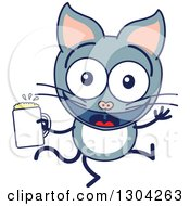 Clipart Of A Cartoon Gray Cat Character Dancing With Beer Royalty Free Vector Illustration by Zooco