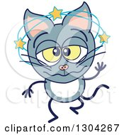 Clipart Of A Cartoon Dizzy Gray Cat Character Royalty Free Vector Illustration by Zooco