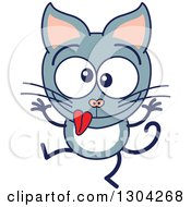 Clipart Of A Cartoon Gray Cat Character Making Funny Faces Royalty Free Vector Illustration by Zooco