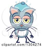 Clipart Of A Cartoon Sick Gray Cat Character With An Ice Pack And Thermometer Royalty Free Vector Illustration by Zooco