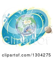 Clipart Of A Cartoon Planet Earth Screaming And Being Suffocated By A Plastic Bag Royalty Free Vector Illustration