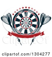 Clipart Of A Target With Stars Darts And A Blank Red Banner Royalty Free Vector Illustration by Vector Tradition SM