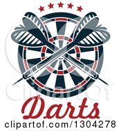 Clipart Of A Target With Crossed Darts And Stars Over Text Royalty Free Vector Illustration