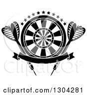 Clipart Of A Black And White Target With Stars Darts And A Blank Banner Royalty Free Vector Illustration by Vector Tradition SM